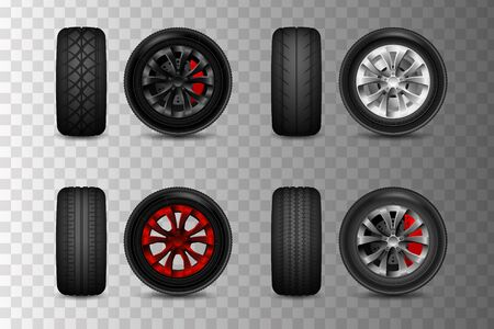 Realistic vector tires set. Car tires with different tread marks. wheels for a car with brake discs. Illustration