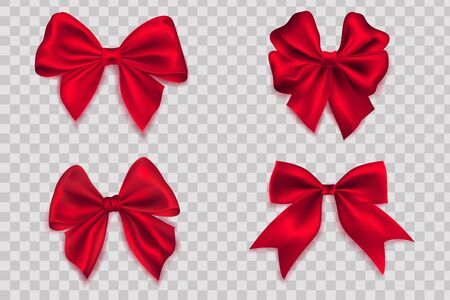 Bows isolated on transparent background. Red ribbon bow collection, realistic holiday gift box fabric wrapping Vektorové ilustrace