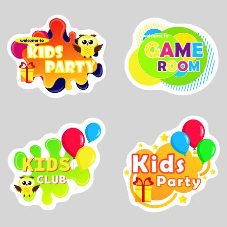Kids zone vector cartoon . Funny cartoon frames. Bright decoration element for childish party. Sign for children's game room.