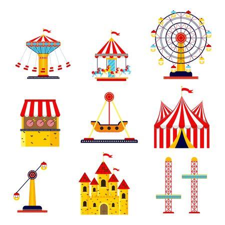 Amusement park, circus and fun fair theme set, with roller coasters, carousels, castle, air balloon. Colorful Ferris wheel, carousel, circus