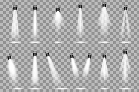 Spotlight shines on the stage. light exclusive use lens flash light effect. Scene illumination collection Vettoriali