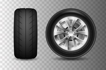The car wheels set. Car wheels icons detailed photo realistic Illustration