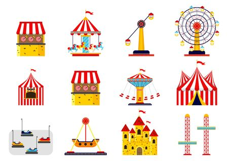 Amusement park flat icons set with family attractions isolated. Architecture entertainment elements for family rest in the park.