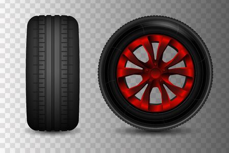 Realistic car wheels. File contains gradients, blends and transparency. No strokes.