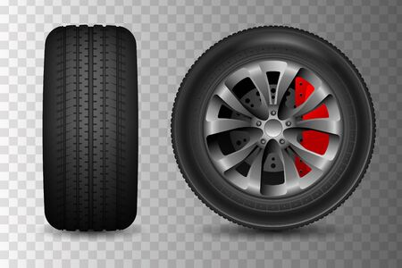 Two car wheel icons. Vector realistic illustration. Wheel with brake disc