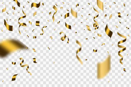 Falling shiny golden confetti isolated on transparent background.  Festive Illustration of Falling Shiny Confetti Glitters