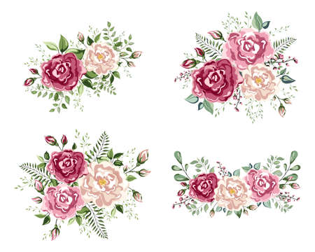 A floral arrangement in the shape of a corner of beautiful roses.  Peach, creamy pale pink Anemone Poppy Rose flowers, berry Eucalyptus herb mix rustic floral