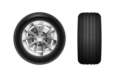 Car wheel vector illustration isolated on white background. Realistic Car tires