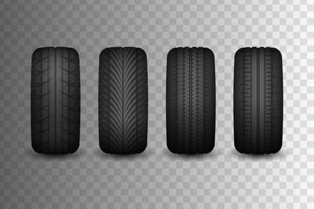 Rubber collection for cars with different types of patterns. Advertising for tire fitting. Rubber tires. Car tires