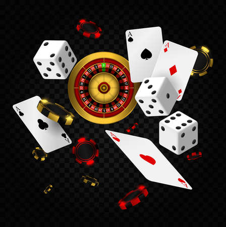 Casino elements vector falling. Casino roulette with chips, red dice realistic gambling poster banner. Playing cards and poker chips fly casino Ilustracja
