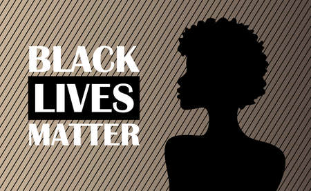 Silhouette of a black woman. No racism concept in cartoon flat style isolated on white. Black Lives Matter.