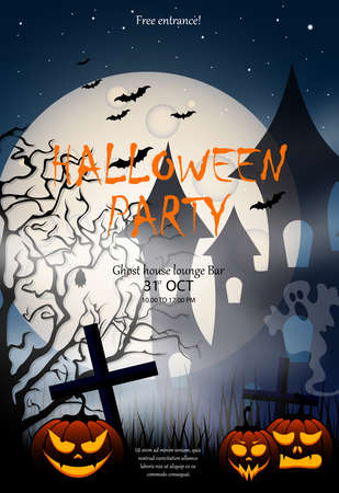 Flyer or invitation template for Halloween party.Poster with pumpkin, haunted house, cemetery, ghost and full moon. Vettoriali