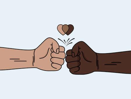 Black lives matter. Campaign against racial discrimination of dark skin color 向量圖像