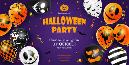 Halloween party invitation flyer with scary balloon. Halloween poster.