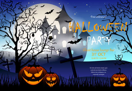 Halloween party invitation with scary pumpkin, scary castle in the background and a full moon, an abandoned cemetery Illustration