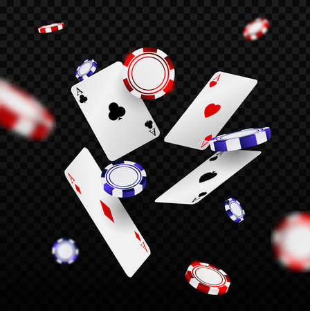 Falling casino chips and aces with blurred elements. Playing cards and poker chips fly casino.