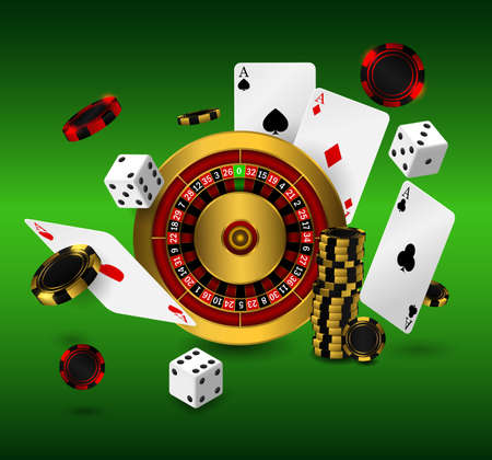 Casino poker design template. Falling poker cards and chips game concept. Casino roulette on green backround
