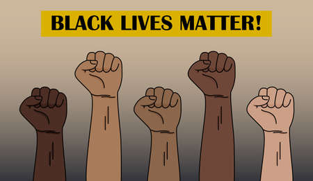 Black lives matters. Social poster, banner. people with different skin colors raising their hands