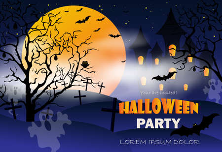 Halloween night background with pumpkin, haunted house and full moon. Party flyer with pumpkins, hat, pot and old broom in front of scary castle. Vector illustration EPS10
