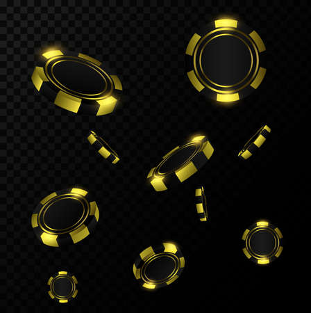 Gold realistic chips in the air. Online casino game gambling 3d vector concept.