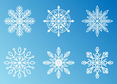 Snowflakes set. Background for winter and christmas theme. Snowflake icons. Snowflakes collection for design Christmas and New Year banner and cards.
