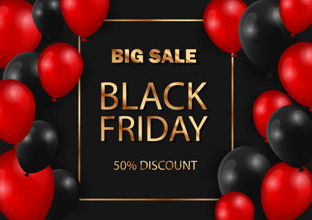 Black Friday sale web banner template. Black Friday Sale Poster with Shiny Balloons on black Background with gold text and Square Frame.  Illustration