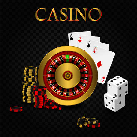 Casino poker design template. Falling poker cards and chips game concept. Casino roulette