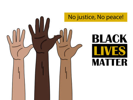 Black Lives Matter. Human hand. Fist raised up. people with different skin colors raising their hands. Unity concept.