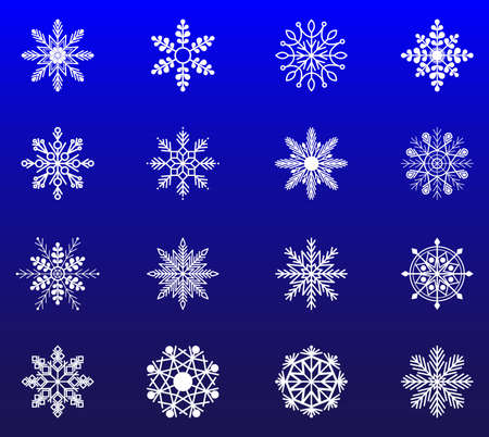 Snowflakes Christmas and new year decoration element set. Flat design