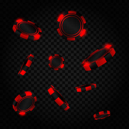 Red coins explosion. Realistic red casino poker chips flying