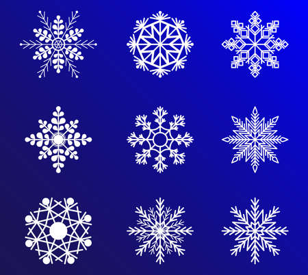 Snowflake vector icon background set white color. Christmas design. Xmas ornament.