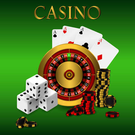 Playing cards and poker chips casino wide banner. Casino roulette concept on white background. Poker casino vector illustration. Illustration