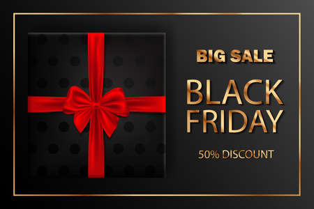Black Friday sale inscription design template. Gift box with red bow. Horizontal banner, poster, header website. vector illustration