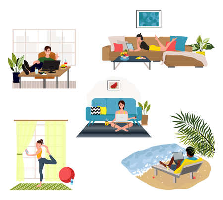 Working at home, coworking space. Young people, mаn and womаn freelancers. Stay at home, people work at home, Cocking, reading a book, practicing yoga, Gardening and listening to the music.