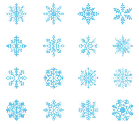 Cute snowflakes collection isolated.  Flat snow icons, silhouette for Christmas banner