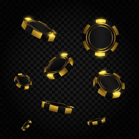 Red coins explosion. Realistic red casino poker chips flying. Gambling poker template. Casino game 3D chips. Online casino banner.