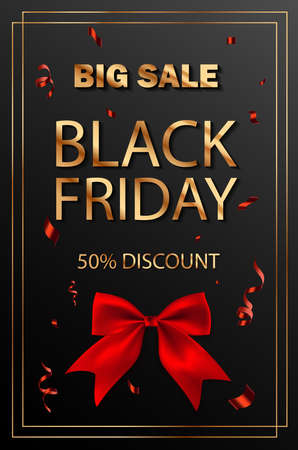 Black Friday Super Sale poster with gold text and Square Frame. Realistic black red bow and confetti.