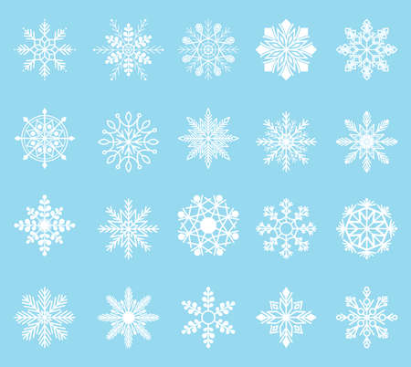 Snowflake set white snowflake s isolated on blue background. Winter christmas snow flake crystal element. Illustration