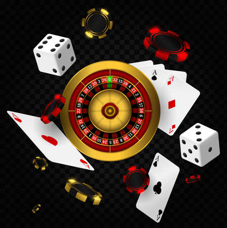 Casino background with roulette, chips, cards and dices. Casino vegas fortune roulette wheel design flyer.  Poker casino