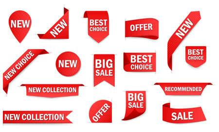 New tag ribbon and banner price tag, new offer vector bundle set. Best choice 3d ribbon banners