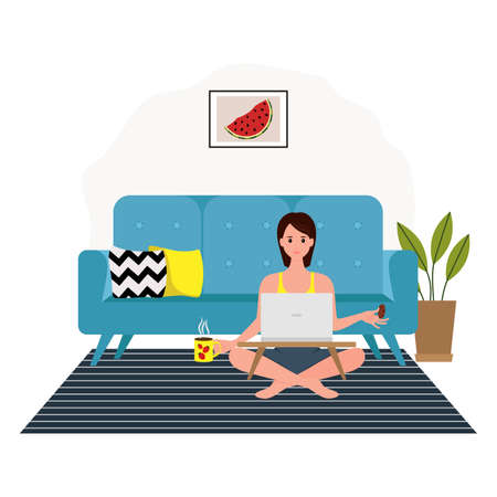 Working at home, coworking space, concept illustration. Freelance. Girl working behind a laptop while drinking coffee with cookies Illustration