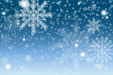 Christmas Snowflakes Shining, transparent beautiful falling snow isolated on blue background. Winter blue sky with falling snow, snowflake.
