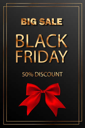 Black Friday Super Sale. Realistic black red bow. Illustration
