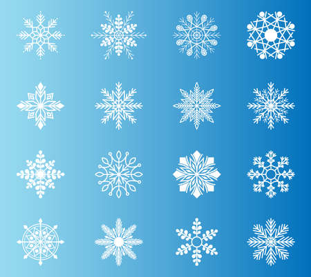 Snowflake set white snowflake s isolated on blue background. Snow. Winter flat vector decorations elements.