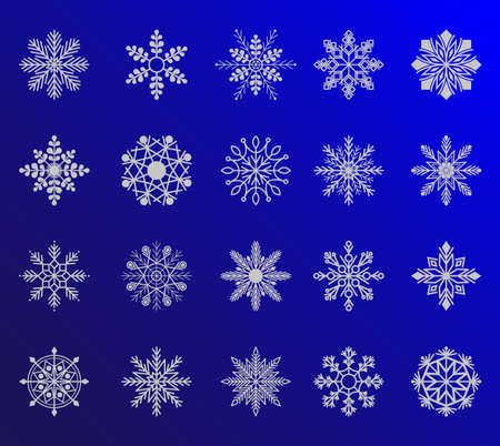 Cute snowflakes collection isolated on gradient background. Winter blue christmas snow flake crystal element. Weather illustration ice collection. Illustration