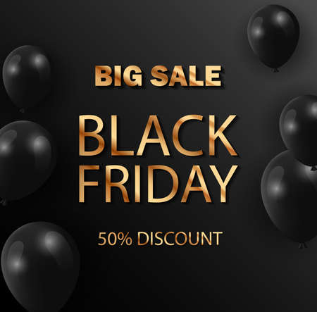 Black Friday sale web banner template. Black Friday Sale Poster with black Balloons on black Background with gold text.