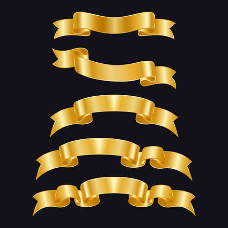 Gold ribbons of different shapes on a black background. Golden badges