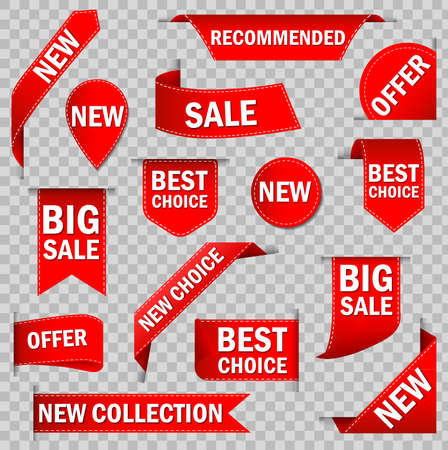 Price tags vector collection. Ribbon sale banners isolated. New collection offers. Big sale  badges.