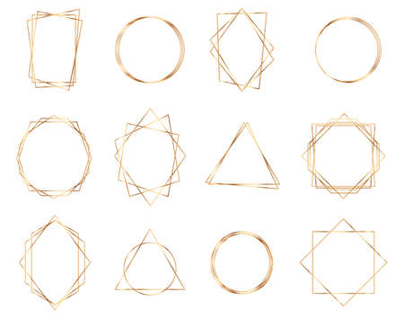 Golden geometric frames. Geometrical polyhedron. Luxury gold geometric frame collection. Illustration