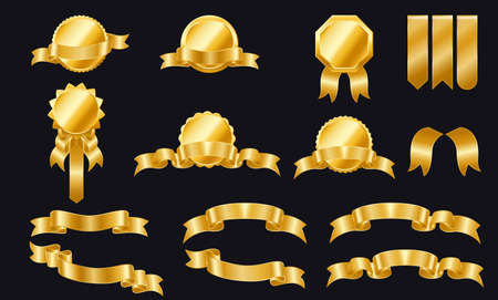 Golden ribbons labels and shields. Set of ribbons and labels.Golden ribbon banners. Gold sticker